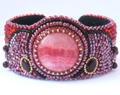 "Bead Embroidered Cuff Bracelet ""Pomegranate wine"" Red Rhodochrosite cabochon OOAK"