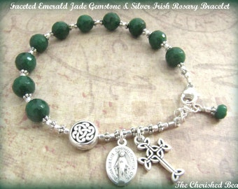 Faceted Emerald Jade Gemstone and Silver Irish Rosary