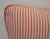 16x16 Red and Cream Cotton Striped Mattress Ticking Pillow Sham - Cushion Cover
