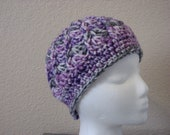 Womens-girls chunky crochet cloche hat-purple,gray,white verigated