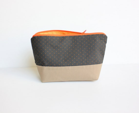 Brown French Roast Zipper Pouch Cosmetic Bag, Brown and Orange Polka Dot Zipper Wallet