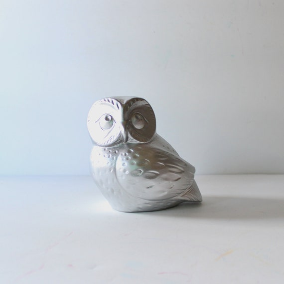 Silver Owl Upcycled Ceramic Figurine - Kitsch - Metallic Home Decor