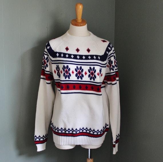 Vintage 70s SKI Sweater - Red White Blue - Men Medium Women Large