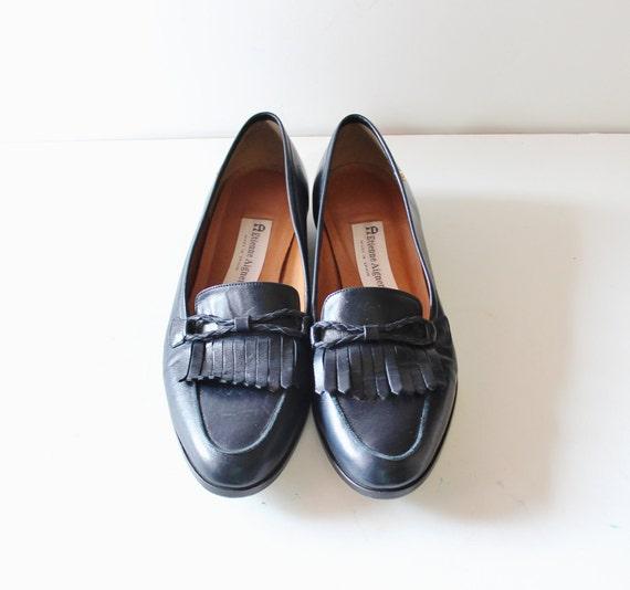 20 Dollar Sale Vintage Etienne Aigner Loafers - Dark Blue Leather - Women 9 narrow - Fringe