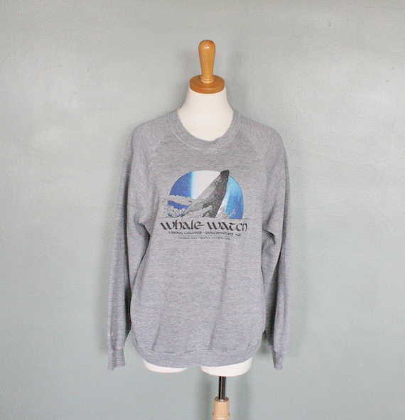 Vintage 80s Whale Watching in New Hampshire Sweatshirt - Mens M Women L