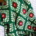Granny Square Crocheted Afghan Christmas Colors Good Condition Vintage Red Green