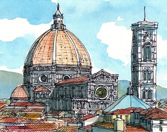 Florence Santa Maria del Fiore Italy art print from original watercolor
