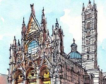 Siena Duomo  Italy art print from original watercolor