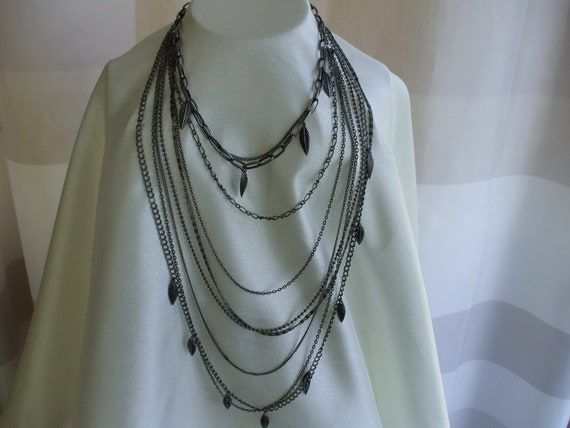 Metal Multi Chains Necklace, Various Types and Links,    Rock Star, Biker, Fashion