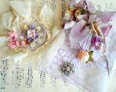 Lot 1920's flapper shabby lavender vintage millinery pink ribbon lace sachet rhinestone enamel brooch lace hankie