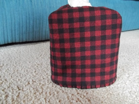 Red and Black Plaid Tissue Box Cover