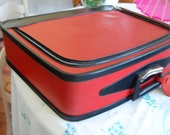 Vintage Red Vinyl Suitcase with Black Trim at Retro Daisy Girl