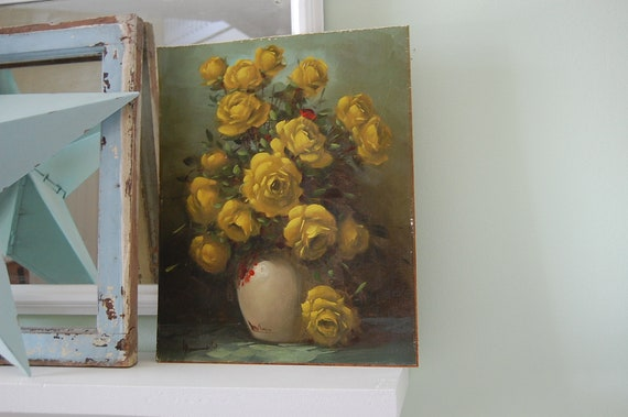 SHABBY CHIC YELLOW Rose Painting Antique Canvas and Wood On Sale Cottage at Retro Daisy Girl
