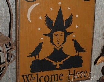 Crows Welcome Here, Folk Art, Halloween, Pine Wall Sign