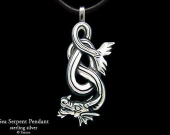 Sea Serpent / Water Dragon Pendant Necklace Sterling Silver