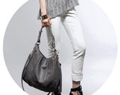 Gray Leather Bag - OPELLE Lotus Bag - Soft Pebbled Leather with Zipper Pockets in Smoke