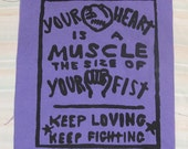 Back Patch - Your Heart is a Muscle the Size of Your Fist - Large Bag Patch - Black on Purple Canvas - Plum Lavender punk patches print