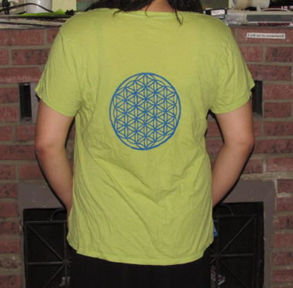 Flower of Life Shirt Blue Print on Neon Green with Hope Dove patch, Large TShirt -  life connection unisex men women magic yellow peace