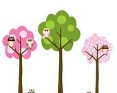 Custom Listing KidsTree with Polka Dots- Owls - Birds Vinyl Wall Decal Sticker Home Decor