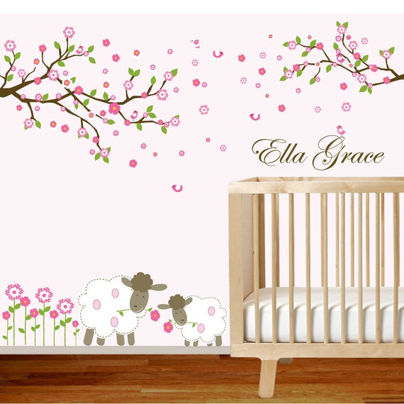 vinyl wall decal branch set nursery wall decal sticker with flowers