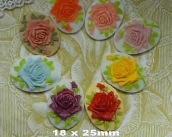 90m-00-CA (18 X 25mm) 16pcs Pretty Oval Rose Cameo-Mix-Colour