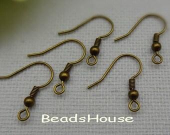 50pcs 18mm Antique Brass Earring Hook Earring Wire,NICKEL FREE