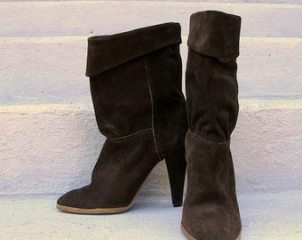 Vintage 1980s High Heel Boots Brown Suede Midcalf Boots / U. S. 5 1/2 to 6M