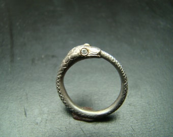 Sterling Silver and 14k Gold Snake ring with diamond eyes
