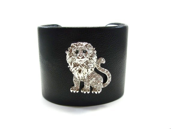 Silver and Crystal Lion Bracelet - Black Leather Cuff -  Leo Zodiac Jewelry - Big Cat Lover's Gift
