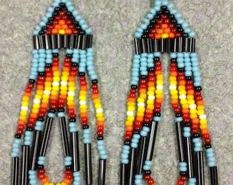 Native American Style Turquoise Beaded Earrings