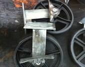 "Antique 8"" Rigid Caster with Brakes, Vintage Industrial Cast Iron Wheel 8RGB"