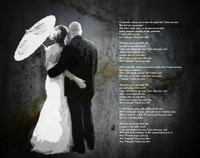 Custom Wedding Decoration Or Anniversary Canvas Gift Vows Poem Lyrics 16x20