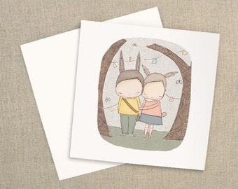 """Valentines Greeting Card - Square - Two Bunny Rabbits in Love -  5.9 x 5.9 """" or 150x150 mm"""