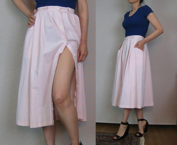 Vintage 80s St MICHAEL Pleated BUTTON Down High Waisted Pale Pink Cotton Blend Midi Skirt w/ Pockets xs Small