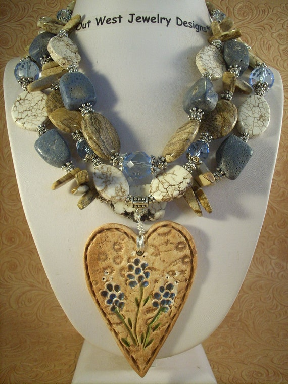 Cowgirl Necklace Set - Chunky Jasper, Blue Coral with a Texas Bluebonnet Heart Pendant