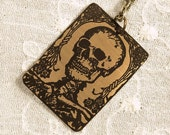 Skull Necklace - Etched Fused Glass on Bronze Jewelry