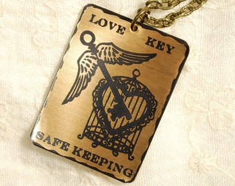 Love Key Necklace - Etched Fused Glass on Bronze Jewelry