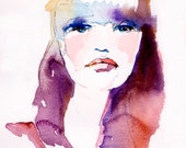 Print of Fashion, Watercolor Illustration. Titled - Cat Woman