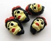 10 Tiny Frida Skull Beads - eyebrow - CB917