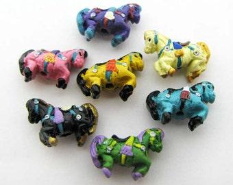 10 Tiny Carousel Horse Beads - mixed - CB872