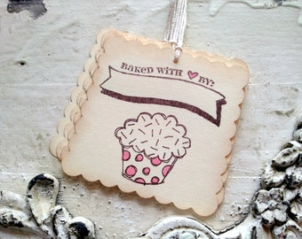 Kitchen Gift Tags, From the Kitchen of, Valentine's Day, Cupcake Tags, Baked Food Label, Set of 6
