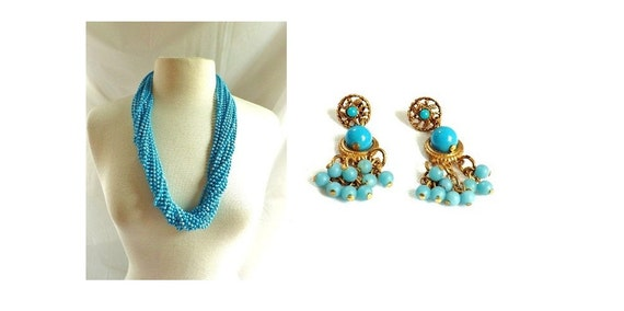 Vintage Necklace Earrings Set / Blue Multi Strand Necklace and Dangle Earrings Set