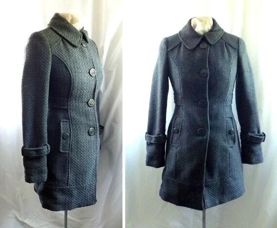 Grey Coat Jacket / vintage 80s Gray Grey Collar Wool Jacket Coat