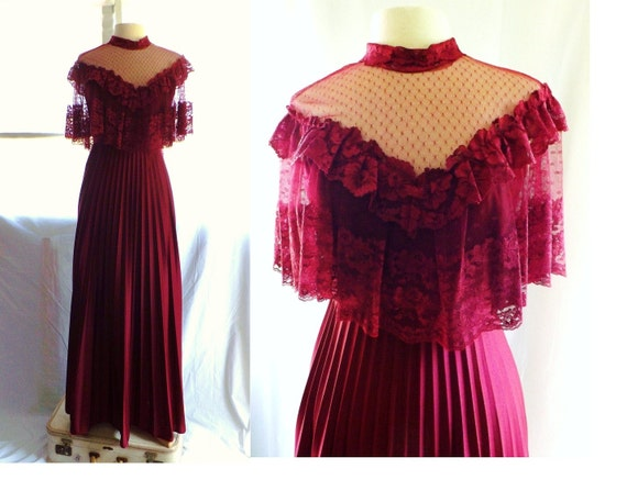 vintage 70s LACE Red Wine goddess Cape top Victorian MAXI Dress S / wedding boho sheer