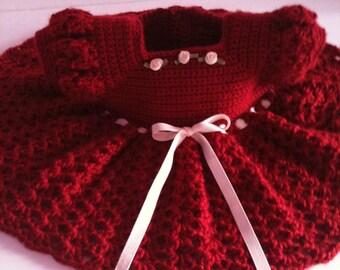 Crochet Baby Dress, Infant Red Dress