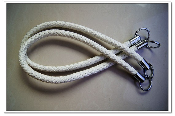 a pair of 24 inch PU leather purse handles  White (purse making supplies)