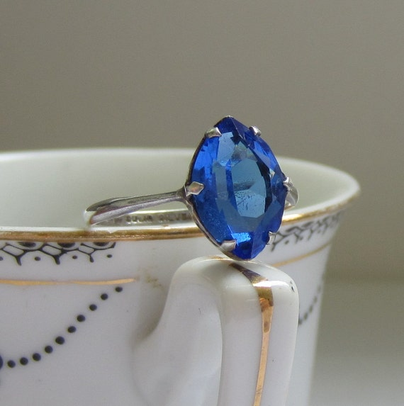 Vintage Blue Glass Ring. Engagement Ring. Something Blue. Addy on Etsy.