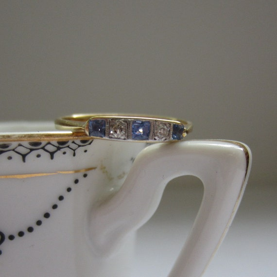 Vintage Wedding Ring. Sapphire and Diamond. Yellow Gold and Platinum. Addy on Etsy.