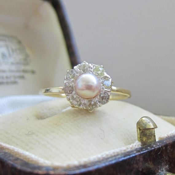 Diamond And Pearl Engagement Rings: Incredible Antique Engagement Ring. Pearl And Diamonds. Halo