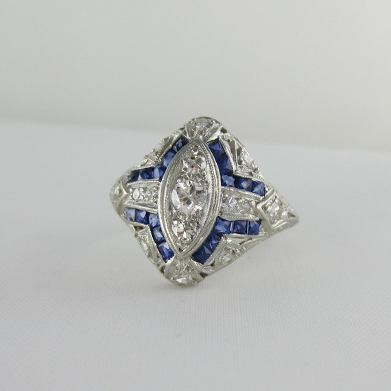 RESERVED. Ornate Diamond & Sapphire Filigree Engagment Ring. Platinum Filigree Dinner Ring, 1930s.